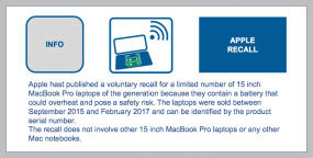 Apple Recall-Apple hast published a voluntary recall for a limited number of 15 inch MacBook Pro laptops