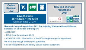 Online seminar - New and changed regulations 2021 in the shipping of lithium-cells and lithium-batteries on all modes of transport