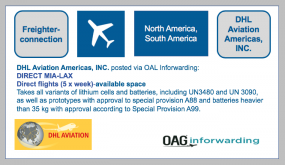 DHL Aviation Americas, INC. posted via OAL Inforwarding: DIRECT MIA-LAX- starting may 26TH- Region North America, South America