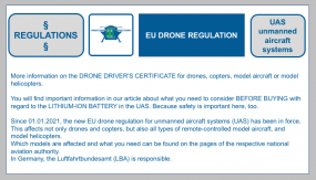 More information on the DRONE DRIVER'S CERTIFICATE for drones, copters, model aircraft or model helicopters. Information on what you need to consider before buying with regard to the lithium ion battery for propulsion in our blog article.