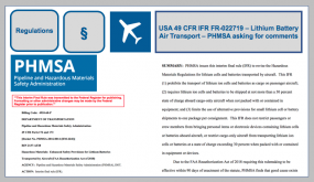 USA 49 CFR IFR FR-022719 – Lithium Battery Air Transport – PHMSA asking for comments