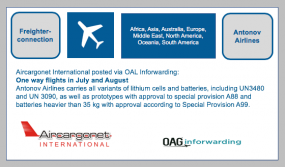 Freighter Connection: Aircargonet International posted via OAL Inforwarding:  Antonov Airlines - New route announcements in July and August Regions: Africa,Asia,Australia,Europe,Middle East,North America,Oceania,South America