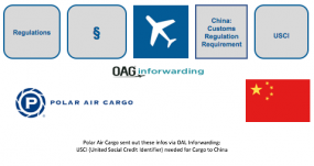 *NEW* CN China Customs Regulation Requirement Polar Air Cargo sent out these infos via OAL Inforwarding: Effective 14 May 2018, Polar will mandate China's Customs published new regulation