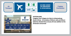EGYPTAIR (MS) Freighter from Cologne via Cairo to Johannesburg (South Africa) - All varieties of lithium cells and lithium batteries allowed-Since January 30 new addition to the dimension announced