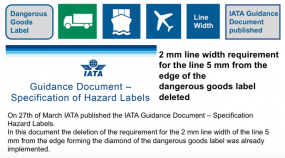 2 mm line width requirement for the line 5 mm from the edge of the dangerous goods label deleted