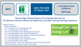Virtual EV (Electric Vehicle Lithium-Ion-Batteries) and ESS  (Energy Storage Systems) High Voltage Battery Design Seminar