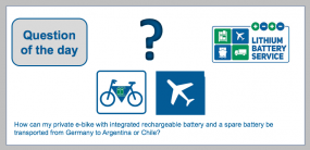 """Question of the day:  Not only companies, but also private individuals need help in shipping lithium cells and batteries. This question has reached us: """"I would like to drive through Argentina with an e-bike. How can the e-bike with integrated rechargeabl"""