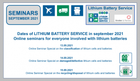 Online-seminars with our experts from LITHIUM BATTERY SERVICE in SEPTEMBER 2021