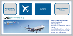 Aeroflot-Russian Airlines posted via OAG Inforwarding:Available space-Region Europe