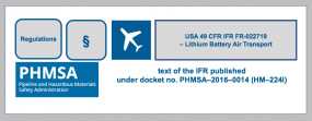 Supplement to USA 49 CFR IFR FR-022719 -Lithium battery air transport