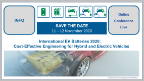 International EV Batteries 2020: Cost-Effective Engineering for Hybrid and Electric Vehicles 11-12 November 2020 | Live online conference