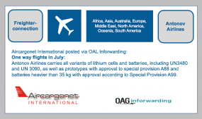 Frighter Connection: OAG Inforwarding - Antonov Airlines - New route announcements in July