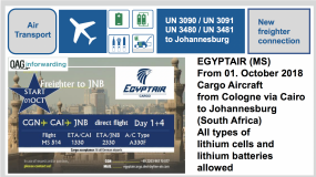 EGYPTAIR (MS) Freighter from Cologne via Cairo to Johannesburg (South Africa) - All varieties of lithium cells and lithium batteries allowed