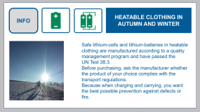 Heatable clothing with lithium cells or lithium batteries