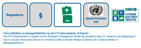 Clear definition on damaged/defective by the UN Subcommittee of Experts - Special Provision 376