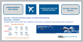 Aeroflot-Russian Airlines posted via OAG Inforwarding: Schedules in December for the region Europe: