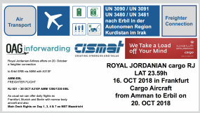 Freighter Connection Germany via Amman to Erbil with Royal Jordanian Airlines - LAT TUE 16. OCT 2018 at 23.59h in Frankfurt