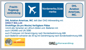 DHL Aviation Americas, INC.  teilt über OAG Inforwarding mit: DIRECT MIA-LAX- ab 26.Mai- Region Nordamerika, Südamerika