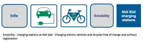 Emobility - charging stations at Aldi Süd - Charging electric vehicles and bicycles free of charge and without registration. At Aldi Süd you can charge your electric vehicles and bicycles free of charge and without registration with electricity from the p
