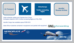 Aeroflot-Russian Airlines posted via OAG Inforwarding: Flight schedule update and Charters from China